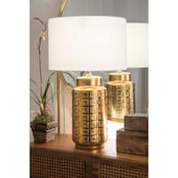 Watch Hill 27'' Ruby Ceramic Gold Finish Linen Shade Table Lamp