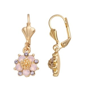 Isla Simone 14K Gold Plated Pink Water Opal Flower Dangle Earrings, Made with Swarovski Crystal Elements