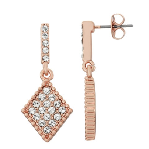 Isla Simone 14K Rose Gold Plated Diamond Shaped Dangle Earrings, Made with Swarovski Elements Crystal Element
