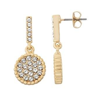 Isla Simone 14K Gold Plated Circle Shape Dangle Earrings, Made with Swarovski Crystal Elements