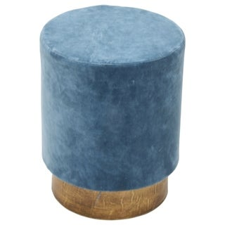 Renwil Dakota Crystal Teal Cotton and Antique-brass-finished Metal Upholstered Round Stool