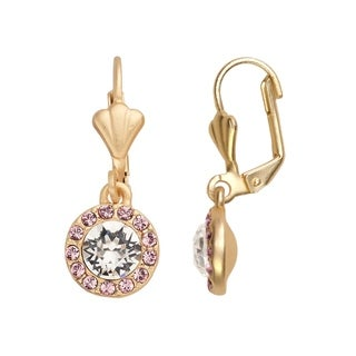 Isla Simone 14K Gold Plated Clear and Light Rose Halo Dangle Earrings, Made with Swarovski Elements Crystal E
