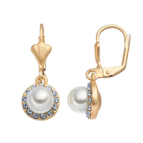 Isla Simone 14K Gold Plated Sapphire and Glass Pearl Halo Dangle Earrings, Made with Swarovski Crystals