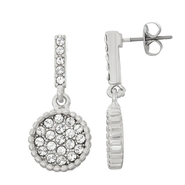Isla Simone Rhodium Plated Circle Shape Dangle Earrings, Made with Swarovski Crystals