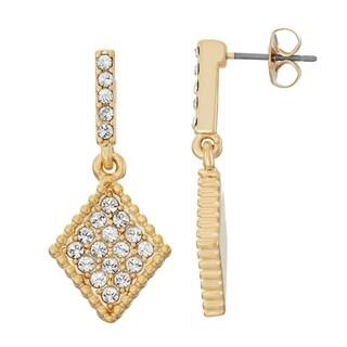 Isla Simone 14K Gold Plated Diamond Shape Dangle Earrings, Made with Swarovski Crystal Elements