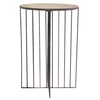Renwil Alethea Grey Mango Wood and Metal Bohemian-style Stool