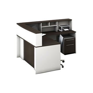 Reception Center Furniture 5pc Complete Group Model O4M1E6G6A Contemporary White+Espresso color. Refresh Your Reception Area.
