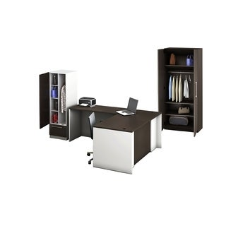 Reception Center Furniture 4pc Complete Group Model O4M1E5G7A Contemporary White+Espresso color. Refresh Your Reception Area.