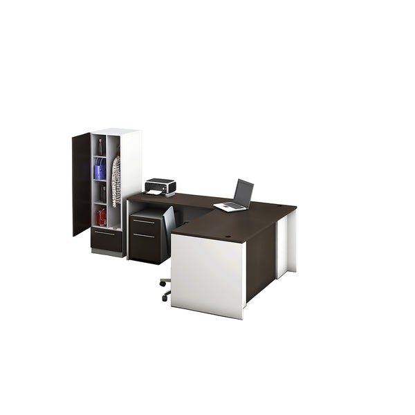 Reception Center Furniture 3pc Complete Group Model O4M1E6G3A Contemporary White+Espresso color. Refresh Your Reception Area.