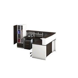 Reception Center Furniture 6pc Complete Group Model O4M1E6G8A Contemporary White+Espresso color. Refresh Your Reception Area.