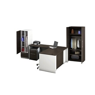 Reception Center Furniture 5pc Complete Group Model O4M1E6G7A Contemporary White+Espresso color. Refresh Your Reception Area.