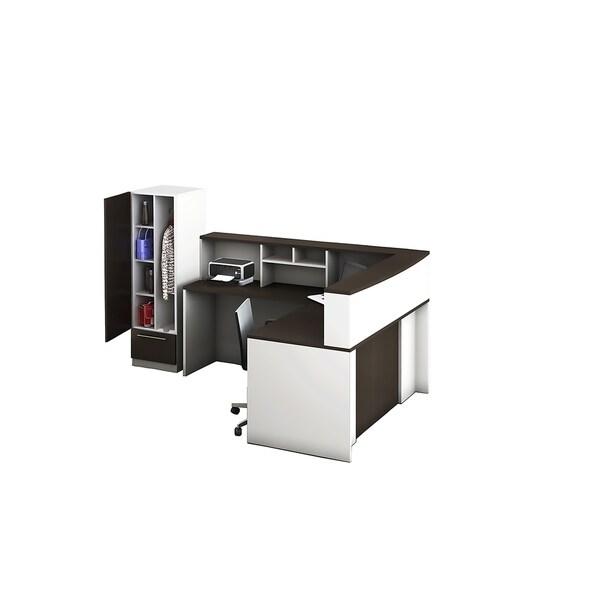 Reception Center Furniture 5pc Complete Group Model O4M1E5G8A Contemporary White+Espresso color. Refresh Your Reception Area.