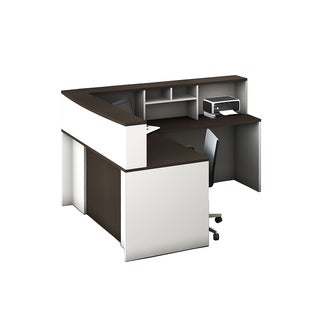 Reception Center Furniture 4pc Complete Group Model O4M1E5G6A Contemporary White+Espresso color. Refresh Your Reception Area.
