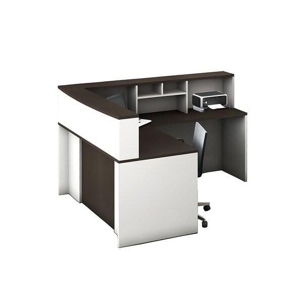 Reception Center Furniture 4pc Complete Group Model O4M1E5G6A Contemporary White+Espresso color. Refresh Your Reception Area.