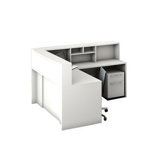 Reception Center Furniture 5pc Complete Group Model O4M1E6G5A Contemporary White color. Refresh Your Reception Area.