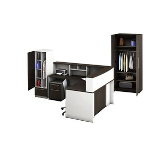 Reception Center Furniture 7pc Complete Group Model O4M1E6G9A Contemporary White+Espresso color. Refresh Your Reception Area.