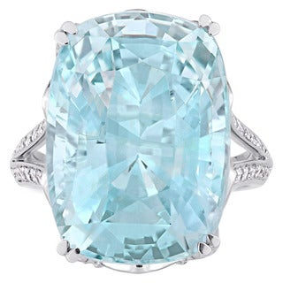 Miadora Signature Collection 14k White Gold Cushion-Cut Sky-Blue Topaz and 5/8ct TDW Diamond Split Shank Engagement Ring