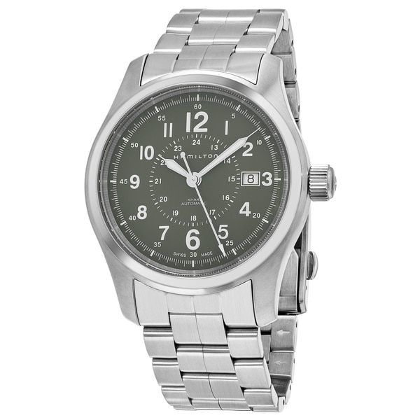 3f8c1f886 Shop Hamilton Men's H70605163 'Khaki Field' Green Dial Stainless Steel  Swiss Automatic Military Watch - Free Shipping Today - Overstock - 18025189