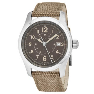 Hamilton Men's H70305993 'Khaki Field' Brown Dial Tan Fabric Strap Swiss Automatic Military Watch