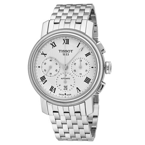 Tissot Men's T097.427.11.033.00 'Bridgeport' Silver Dial Stainless Steel Chronograph Swiss Mechanical Watch