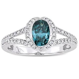 Miadora Signature Collection 14-karat White Gold Sky-Blue Topaz and 1 1/3ct TDW Diamond Split Shank Engagement Ring