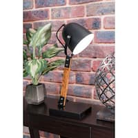 Watch Hill 20'' Stella Metal Wood Shade Black Table lamp
