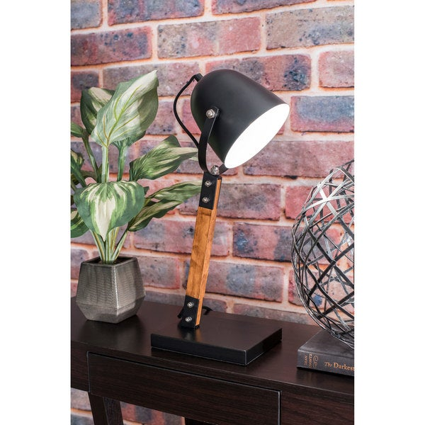 Watch Hill 20'' Stella Metal Wood Shade Black Table lamp
