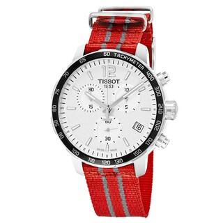 Tissot Men's T095.417.17.037.12 'Quickster' Silver Dial Red Striped Fabric Strap Chronograph Houston Rockets Swiss Quartz Watch