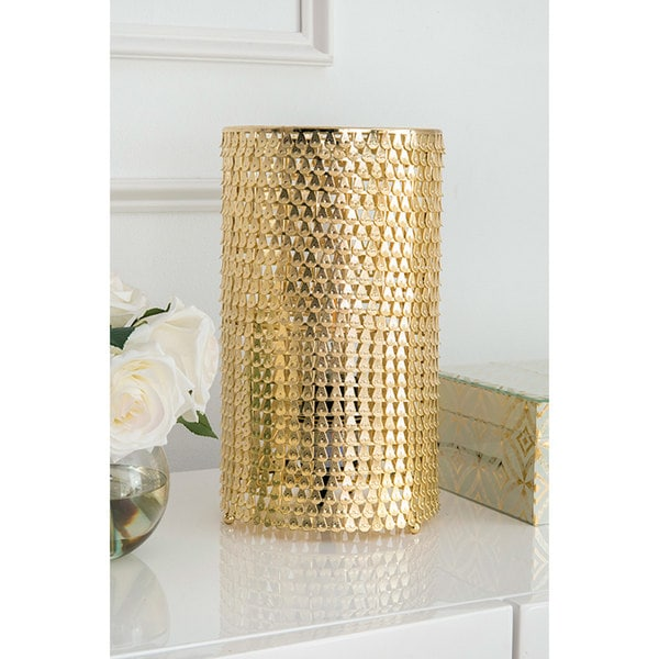 Watch Hill 11'' Gabriella Brass Plated Metal Shade Golden Cage Table Lamp