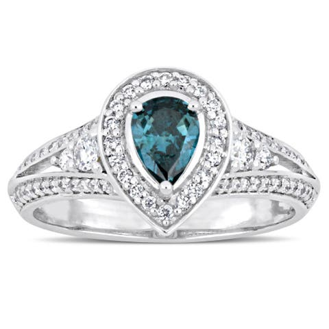 Miadora Signature Collection 14-karat White Gold Pear-Cut Sky-Blue Topaz and 7/8ct TDW Diamond Halo - Blue