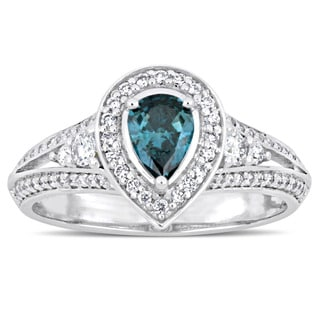 Miadora Signature Collection 14-karat White Gold Pear-Cut Sky-Blue Topaz and 7/8ct TDW Diamond Halo Engagement Ring
