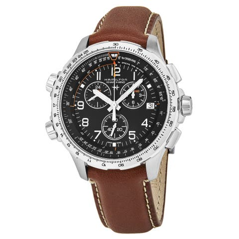 Hamilton Men's 'Khaki Aviation' Black Dial Brown Leather Strap X-WIND Chronograph GMT Swiss Quartz Watch