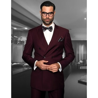 Shop Statement Tzd 100 Burgundy Double Breasted Suit Free Shipping