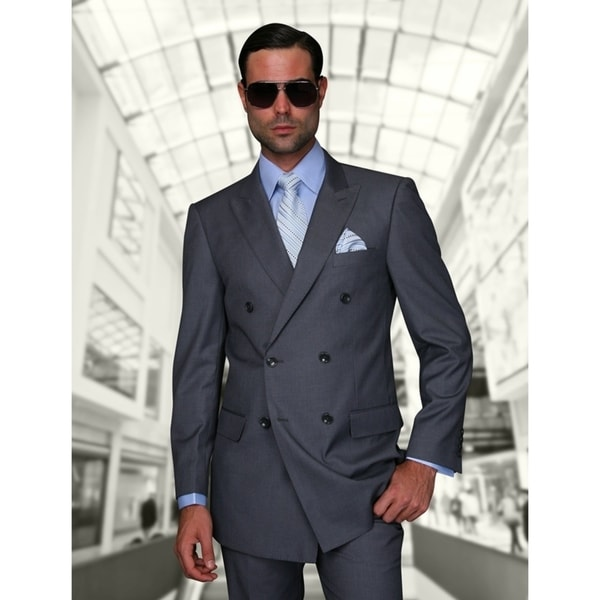 Statement TZD-100 Charcoal Double Breasted Suit by  #2