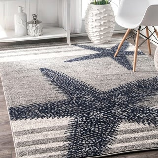 nuLOOM Made by Thomas Paul Starfishes by the Stripes Grey Rug (4' x 6')