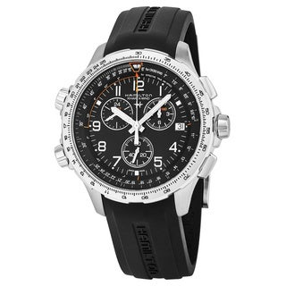 Hamilton Men's H77912335 'Khaki Aviation' Black Dial Black Rubber Strap X-WIND Chronograph GMT Swiss Quartz