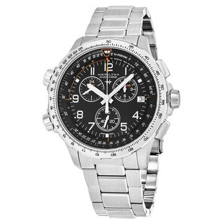 Hamilton Men's H77912135 'Khaki Aviation' Black Dial Stainless Steel X-WIND Chronograph GMT Swiss Quartz Watch