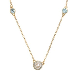 Isla Simone 14K Gold Plated Sapphire and Glass Pearl 3 Station Necklace, Made with Swarovski Elements Crystal