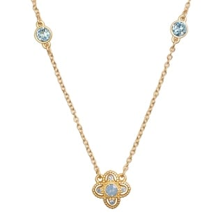 Isla Simone 14K Gold Plated Blue Opal Isotoxal Star 3 Station Necklace, Made with Swarovski Element Crystals
