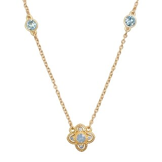 Isla Simone 14K Gold Plated Blue Opal Isotoxal Star 3 Station Necklace, Made with Swarovski Elements Crystal