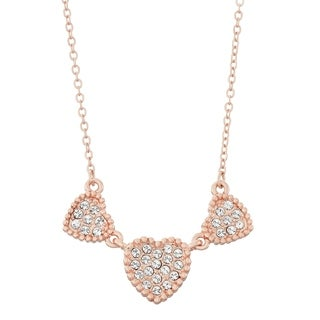 Isla Simone 14K Rose Gold Plated Triple Heart Shapes Pave Crystal Necklace, Made with Swarovski Element Crys