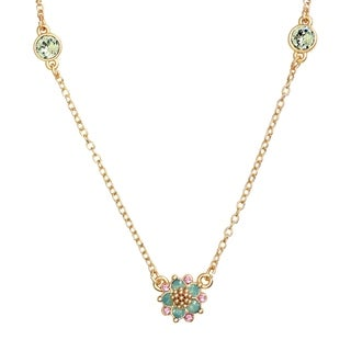 Isla Simone 14K Gold Plated Pacific Opal Flower Triple Station Necklace, Made with Swarovski Elements Crystal