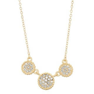 Isla Simone 14K Gold Plated Triple Circle Shapes Pave Crystal Necklace, Made with Swarovski Element Crystals