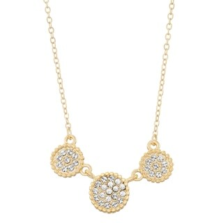 Isla Simone Triple Circle Shapes Pave Crystal Necklace, Made With Swarovski Element