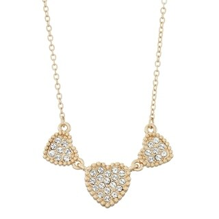 Isla Simone Triple Heart Shapes Pave Crystal Necklace, Made With Swarovski Element C