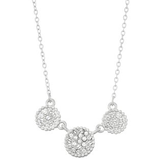 Isla Simone Rhodium Plated Triple Circle Shapes Pave Crystal Necklace, Made with Swarovski Element Crystals