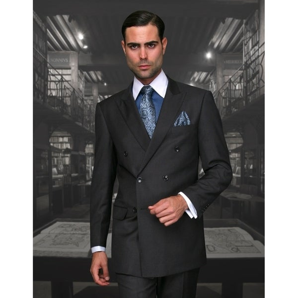 Statement TZD-100 Heather Charcoal Double Breasted Suit