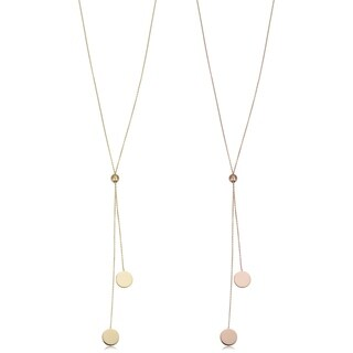 Fremada 14k Gold Double Disc Lariat Necklace (up to 28 inches)
