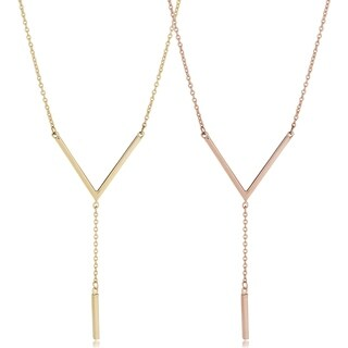 Fremada 14k Gold V and Bar Drop Necklace (fits 17 to 18 inches)