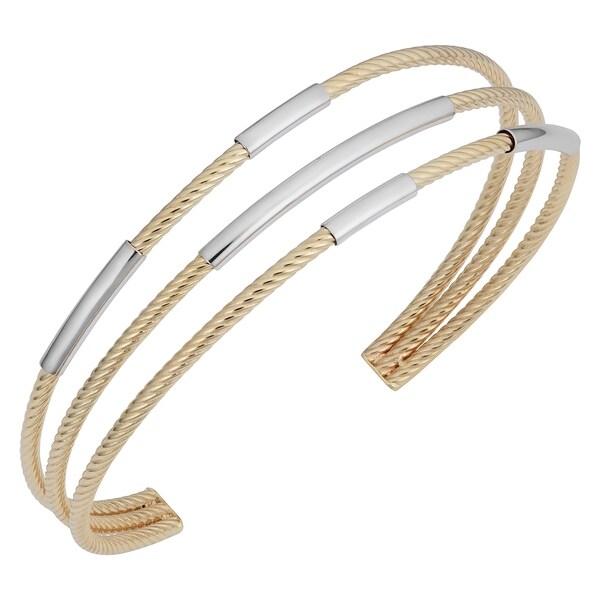a86a6f2ce65f0 Shop Fremada 14k Two-tone Gold Triple Cuff Bangle Bracelet (7.5 ...